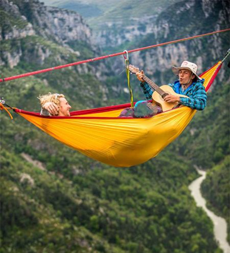 Togetherness with portable double hammock