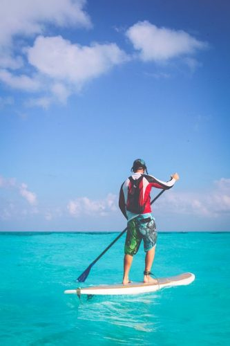 Using the eco-friendly backpack while paddling on the surfing board